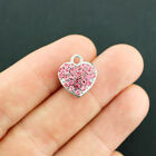 Heart Silver Tone Charm with Inset Pink Rhinestones FD597