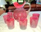 Fenton Glass Cranberry Opalescent Optic Swirl Pitcher w 6 Tumblers Leomonade Set