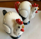 Vintage Ceramic Chicken Rooster Mid Century Tall Salt+Peppers Marked Japan