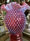 Stunning Early UnSigned FENTON Cranberry Opalescent Hobnail Ruffled Vase