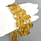 Long Art Deco Amber Glass Flapper Necklace Cube Bead Vintage