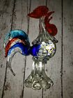 Gorgeous 70s Vintage Hand Blown Murano Art Glass Rooster red blue Large