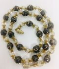 Murano Venetian Sommerso Aventurine Glass Beaded Necklace Vintage Jewelry