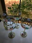Hand Painted Floral Wine Glasses Set Of 4
