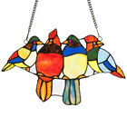 145 Stained Glass Birds Window Panel Tiffany Hanging SunCatcher Decoration