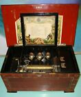 Large Antique swiss 3 Butterfly bells Brass Cylinder Music Box FOR RESTORATION
