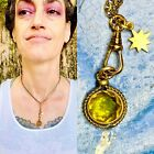 1 Vintage Fob necklace glass Topaz star chatelaine charm holder Victorian style