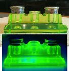 RARE Vintage Double Inkwell Pen Holder Green Uranium Glass Vaseline Beautiful