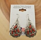 Native American Navajo Sterling Silver Red Coral Cluster Dangle Earrings