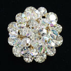 Vintage Juliana Clear Crystal Rhinestone Bead Dangle Round Pin Brooch D and E