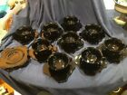 Cambridge black amethyst glass set of 9 cups and saucers with 3 extra saucers