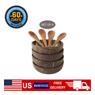 Natural Coconut Shell Bowl Wooden Handcraft Fruit Salad Plate Dessert Container