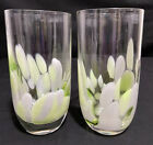 Glass Tumbler Cup Cocktail Drinks Jade Color Opal White Green Oval Design RARE