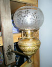 RARE 1890s BH BRASS WALL BRACKET KEROSENE OIL LAMP ETCHED GLASS SHADEBB103
