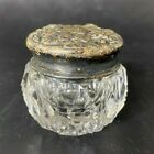 Antique Small Mini Cut Crystal Dresser Jar Sterling Silver Lid Repousse Floral