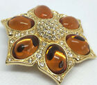CHRISTIAN DIOR GLASS CABOCHON CRYSTAL FAUX AMBER FLOWER BROOCH PIN STATEMENT