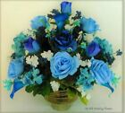 Blue Royal Blue Roses Calla Lilies Hydrangeas Silk Flower Floral Arrangem