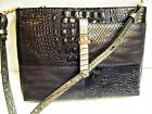 Brahmin Convertible PURSE ALL DAY Croc Embossed Leather Crossbody Bag Black Grey