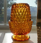 Vtg Amber Diamond Point Fairy Candle Lamp Indiana Glass