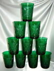 Lot (10) Vintage ANCHOR HOCKING Forest Green Sandwich Glass Drinking Glasses