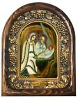 Icon Orthodox Christian Nativity of Christ Aquamarine Pearl Bead Handmade Gift