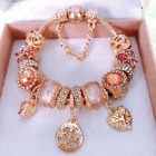 PANDORA Inspired Rose Gold Murano Glass Charms Luxury Edition Charm Bracelet NEW