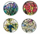 METROPOLITAN MUSEUM OF ART BOX OF 4 TIFFANY STAINED GLASS GLASS COASTERS NEW