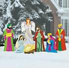Large Deluxe Nativity Scene Metal Outdoor Christmas Set 7 pc Set NEW