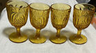 FENTON AMBER GLASS COLONIAL PINEAPPLE SET OF 4 WATER GOBLETS No Cracks Beautiful