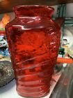 Stunning RARE HUGE Ruby Red Consolidated Phoenix Catalonian Three Sided Vase