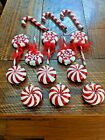 Candy Mercury Glass Christmas Ornaments Candy Cane Lollipop Peppermint Lot Of 14