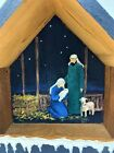 Handcrafted Artisan Hand Painted Signed Wooden Nativity Creche Manger 19 x 17
