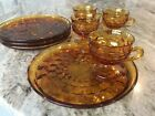 Indiana Glass Amber Whitehall Cube Design Set of 4 SNACK DESSERT PLATES  CUPS