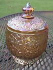 Vintage LESmith Carnival Daisy  Button Glass Lidded Candy Jar Excellent