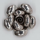 STERLING SILVER FLOWER ROSE PETAL NECKLACE PENDANT 925 NEW OLD STOCK LARGE 07