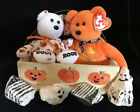 Ty Halloween Beanies, Carvers, Retired, Punkin Face, Wood Pumpkin Basket, Rocks