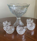 Pressed Glass IVERNA PEDESTAL PUNCH BOWL Scalloped Sawtooth Edge 10 w 5 Cups