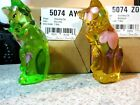 Lot of 2 new Fenton Glass 4 Handpainted Cats Key Lime Green  Buttercup Yellow