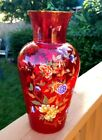 Italian Red Clear Glass Norleans Vase with Hand Made Flowers  Butterflies