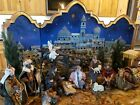 Kirkland Nativity 20 Piece Set 3 Panel Backdrop Hand Painted Original Box Rare