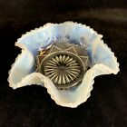 Vintage Fenton Dish Bowl Opalescence Ruffled Heart Pearl Candlewick Art Glass