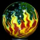 STEVE WILLIS GLASS MARBLE 1366 BARELY BLUE BOILING WATER  FLAMES WORLDWIDE