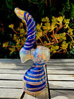 7 Bubbler Glass Pipe Gold And Silver Fumed Blue Color