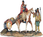 Native American Family Collectible Indian Figurine Mantel Sculpt Tabletop Statue
