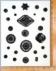 Card of 25 Antique BUTTONS WIRED BLACK GLASS Costume Trim Various Styles