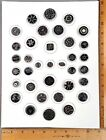 Card of 35 ANTIQUE BUTTONS 3 Assorted BLACK GLASS w Silver Luster Lacy etc