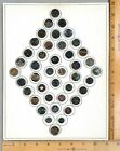 Card of 42 BLACK GLASS Antique BUTTONS 11 Assorted Lusters Pictorials WOW