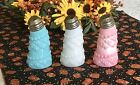 Antique Blue White Pink Consolidated Glass Co Leaning Salt Shakers Fostoria Ohio