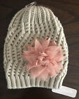 Charming Charlie NWT Knit Ivory Beanie with Pink Tulle Flower Women's One Size