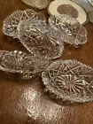 5 CUT GLASS CLEAR Crystal OVAL OPEN SALT CELLAR SCALLOPED SAWTOOTH